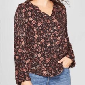 NWT Knox Rose Button Down Floral Shirt Top S F831